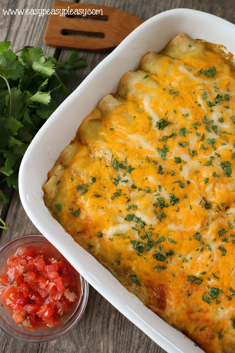 Green Chili Chicken Enchiladas are a casserole of cheesy goodness that will have your family asking for more.