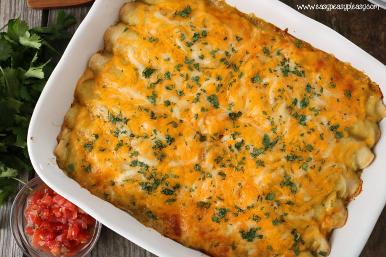 Green Chili Chicken Enchiladas make a great freezer meal to make weeknight dinner easy.