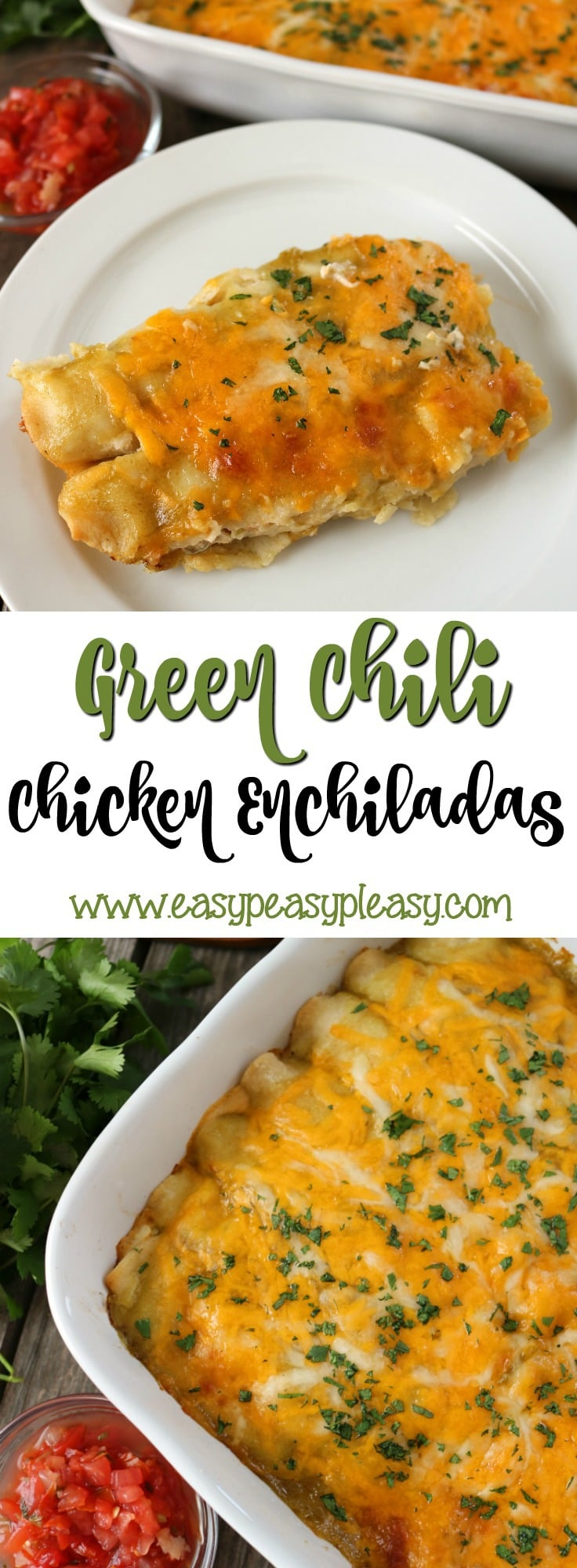 Looking for a dinner your whole family will love These Green Chili Chicken Enchiladas will hit the spot. Perfect for weeknight, make ahead or as a freezer meal.