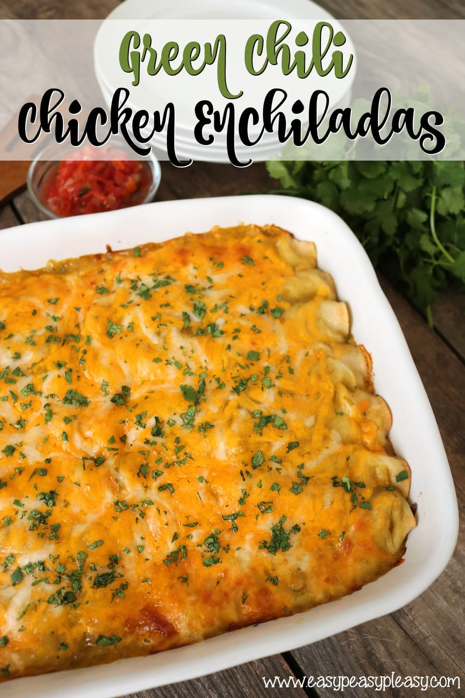 Make tonight, make ahead, or freeze for later. These Green Chili Chicken Enchiladas are made easy with a Rotisserie Chicken and will be devoured.