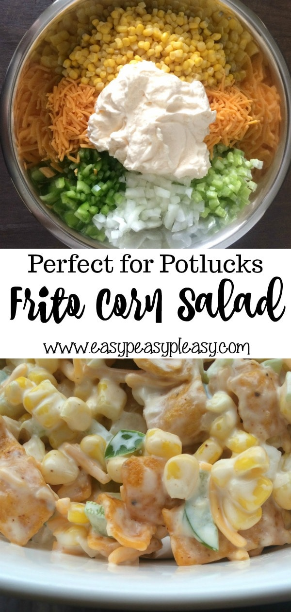 This Frito Corn Salad is the perfect addition to any potluck, cookout, or holiday. It's super easy and there are never any leftovers.