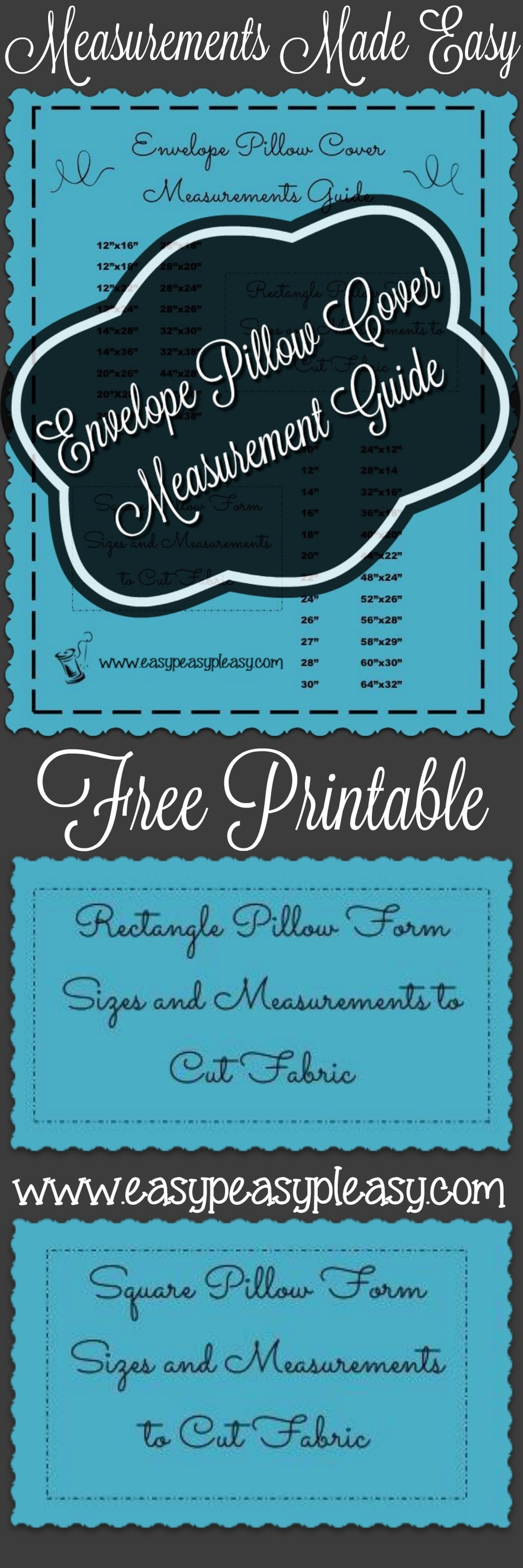 Use this quick reference free printable Envelope Pillow Cover Measurement Guide to stop doing the math and get to sewing your envelope pillow covers.