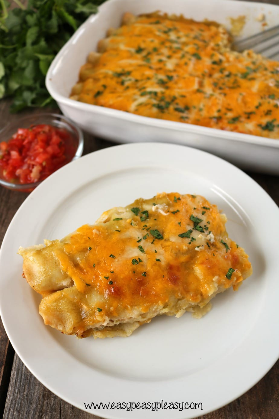 You will love these delicious Green Chili Chicken Enchiladas and the ease to make using a rotisserie chicken.