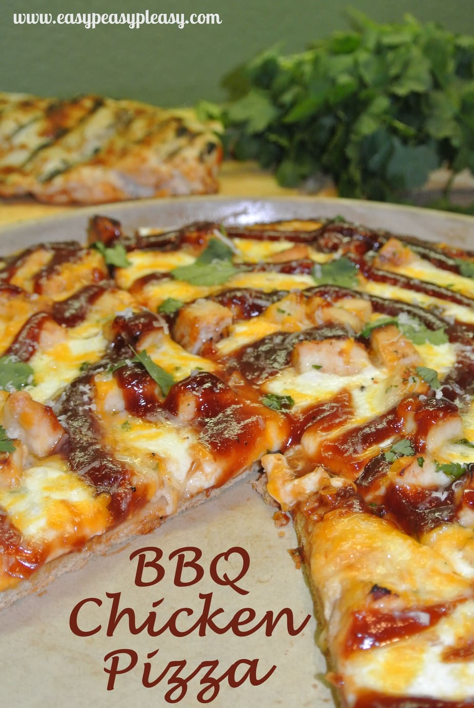 BBQ Chicken Pizza on a Whole Wheat Crust using up your leftover grilled chicken