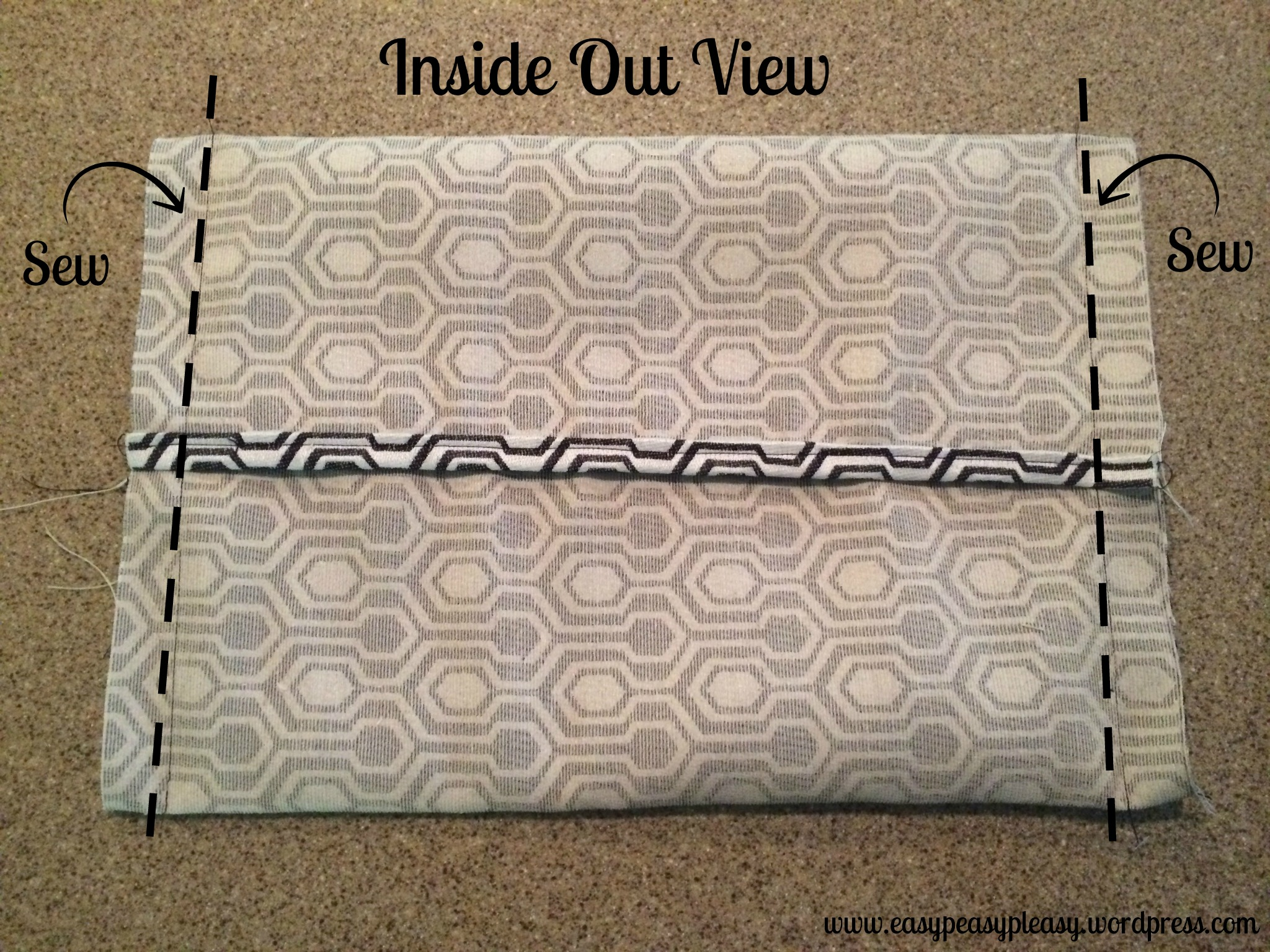 Easy Envelope Pillow Tutorial Inside Out View