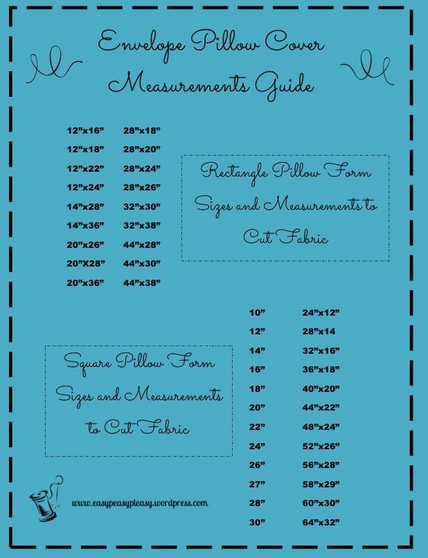 Free Printable Envelope Pillow Cover Measurement Guide...use for a quick reference when cutting out fabric for pillow forms