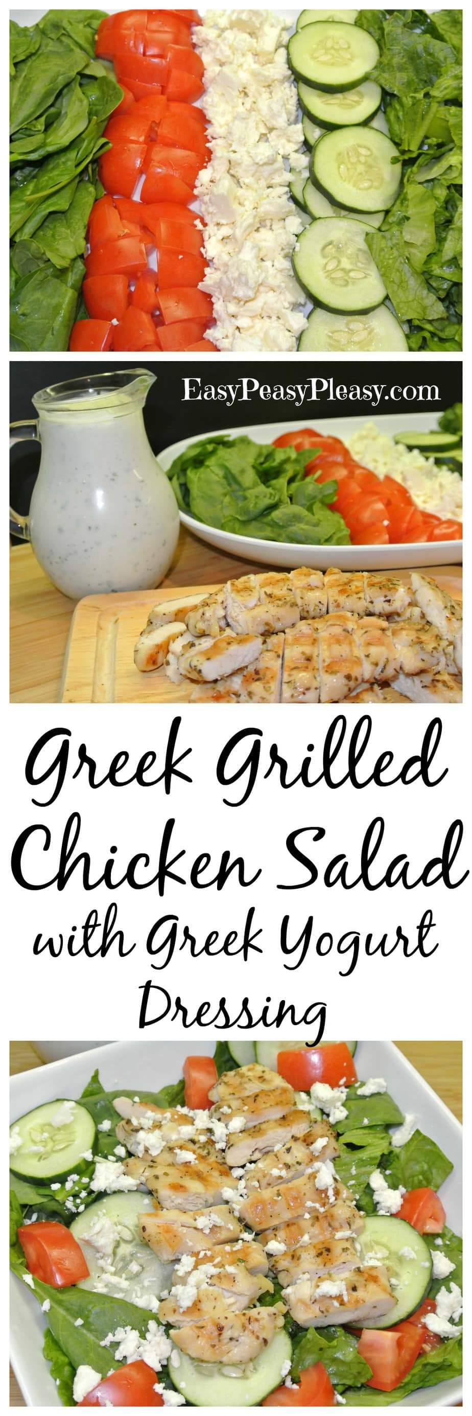Easy Low Fat Greek Grilled Chicken Salad with homemade Greek Yogurt Dressing