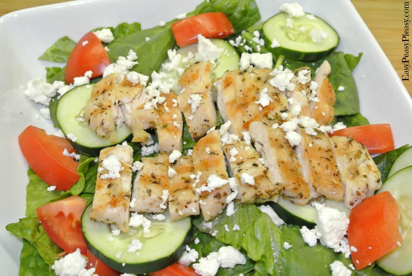 Greek Marinated Grilled Chicken Salad