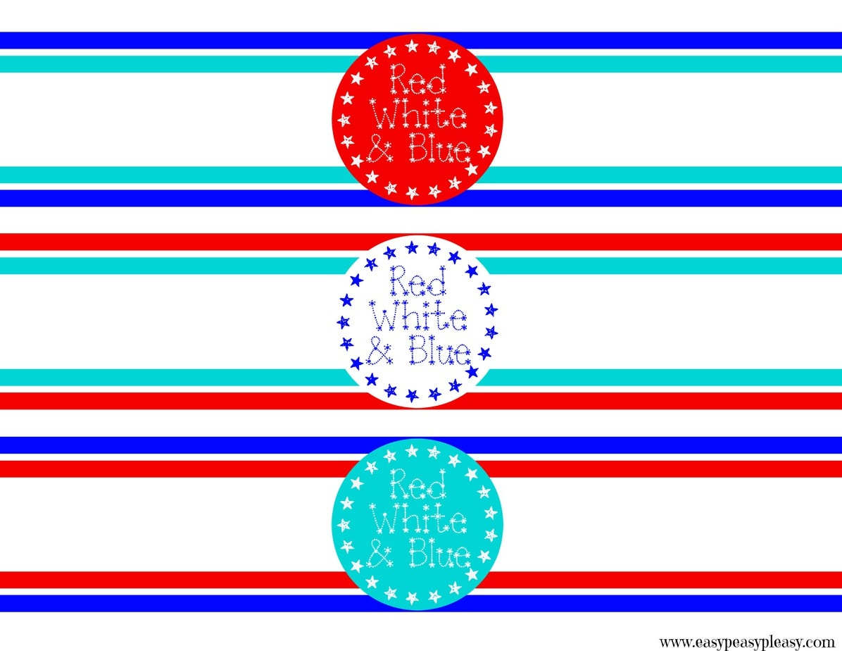 Red White and Blue Patriotic Free Printable Label for Gift Bags and Gift Boxes. Great for the 4th of July and Memorial Day