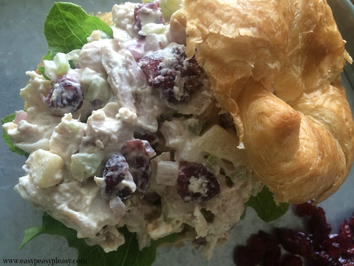 The most delicious and easy Chicken Salad Croissant Sandwiches made using store bought Rotisserie Chicken.