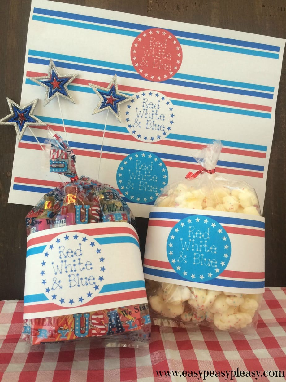 These free patriotic printable labels for the 4th of July and Memorial Day won't use up to much ink and are perfect for gift bags
