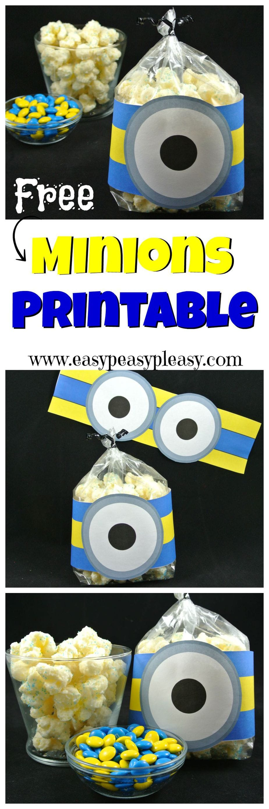 Come and get your Free Minion Printable that works great on goodie bag, party favors, and decorations. Just print and cut.