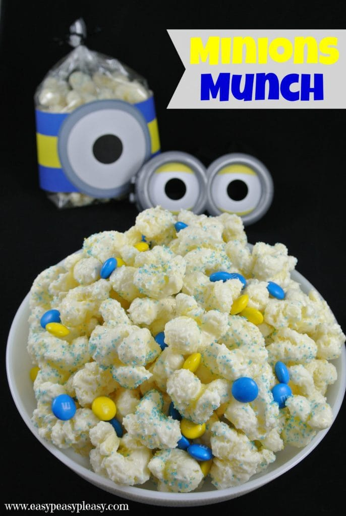 Minions Munch is an easy sweet treat that comes together in 5 minutes! Almond Bark and Puffcorn combine to make the perfect party snack for your next movie viewing, sleepover, or just hanging out with your kiddos!