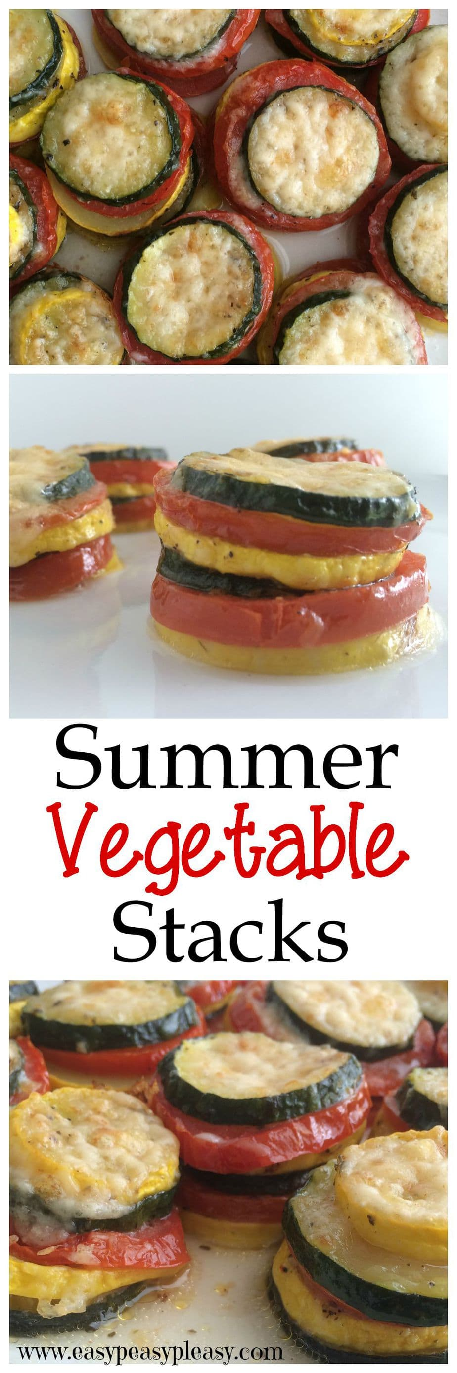 Summer Vegetable Stacks are a fun way to serve up the abundance of summertime gardens and they are super easy to make.