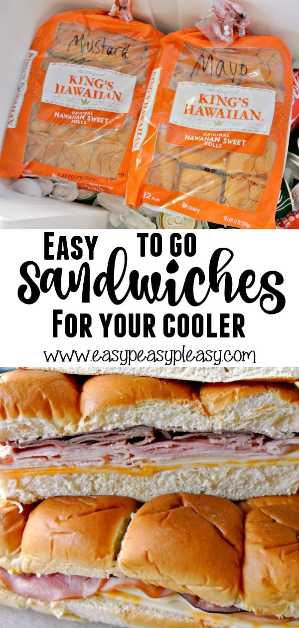 Make up these easy to go Hawaiian Roll Sandwiches that can be dropped on top of everything in your cooler. Check out our favorite meat and cheese combo!