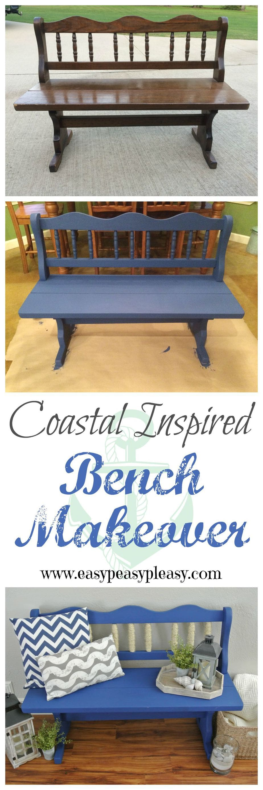 Easy DIY Coastal Beach Inspired Bench Makeover. This bench works great when you are trying to add a little coastal to your house and you live no where near the beach.