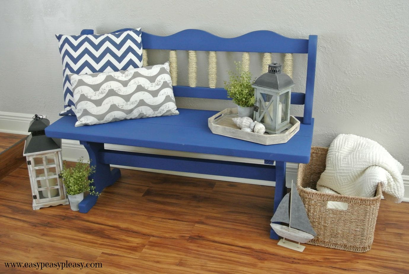 Easy DIY Coastal Beach Inspired Bench Makeover using chalk paint.