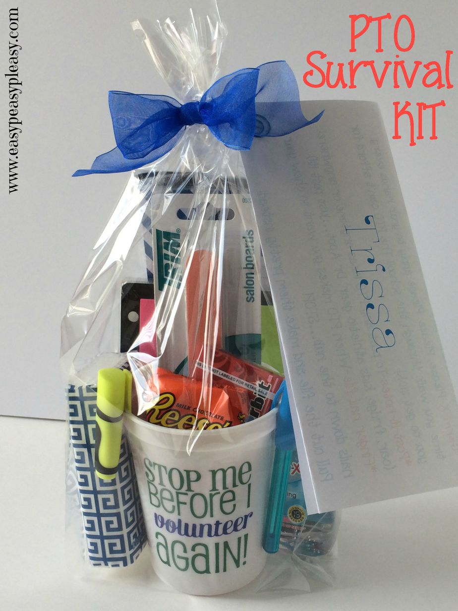 This PTO Survival Kit is a must have for your PTO and PTA Volunteers. Check out the cute free printable that explains all items in the kit!