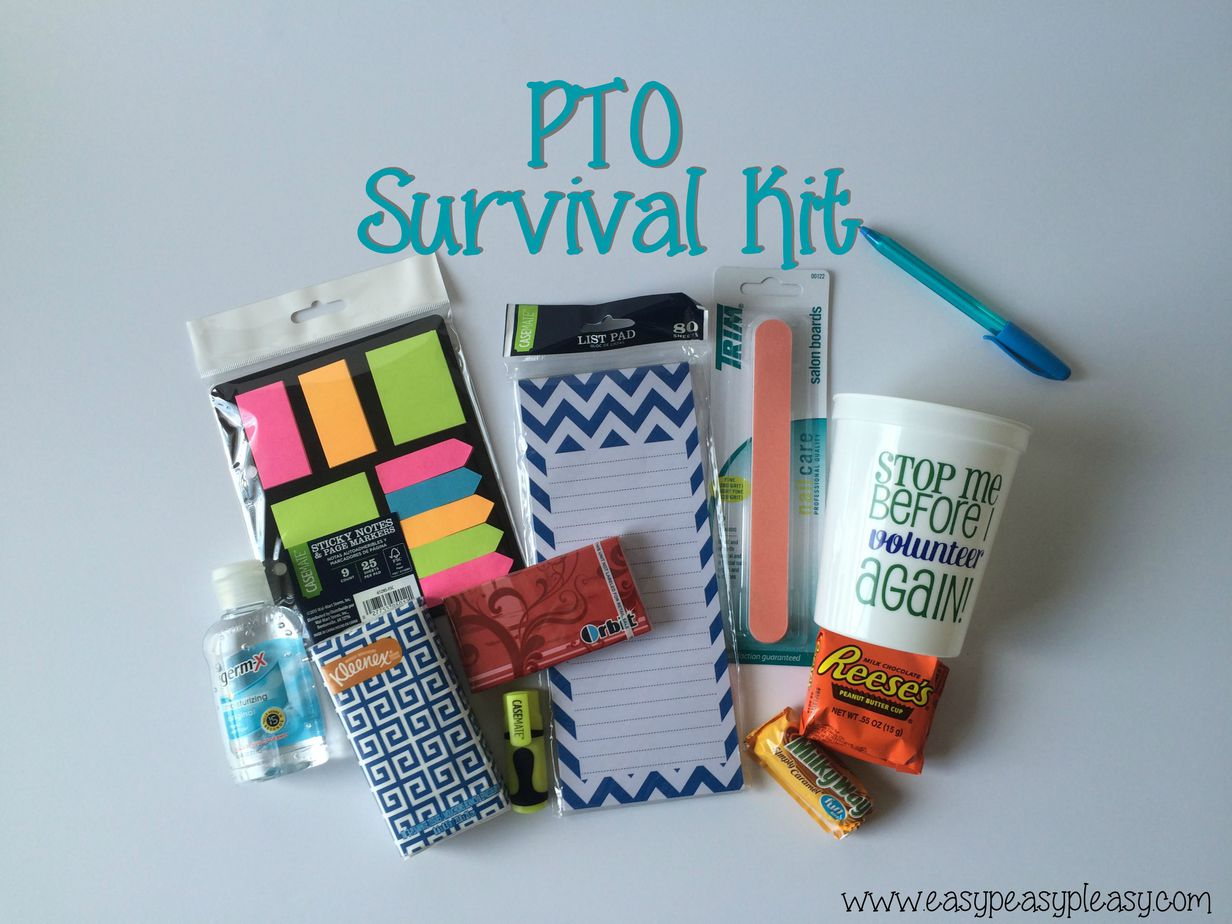 This PTO Survival Kit is the perfect gift for your PTO or PTA Volunteers. Check out the free printable that accompanies this kit!