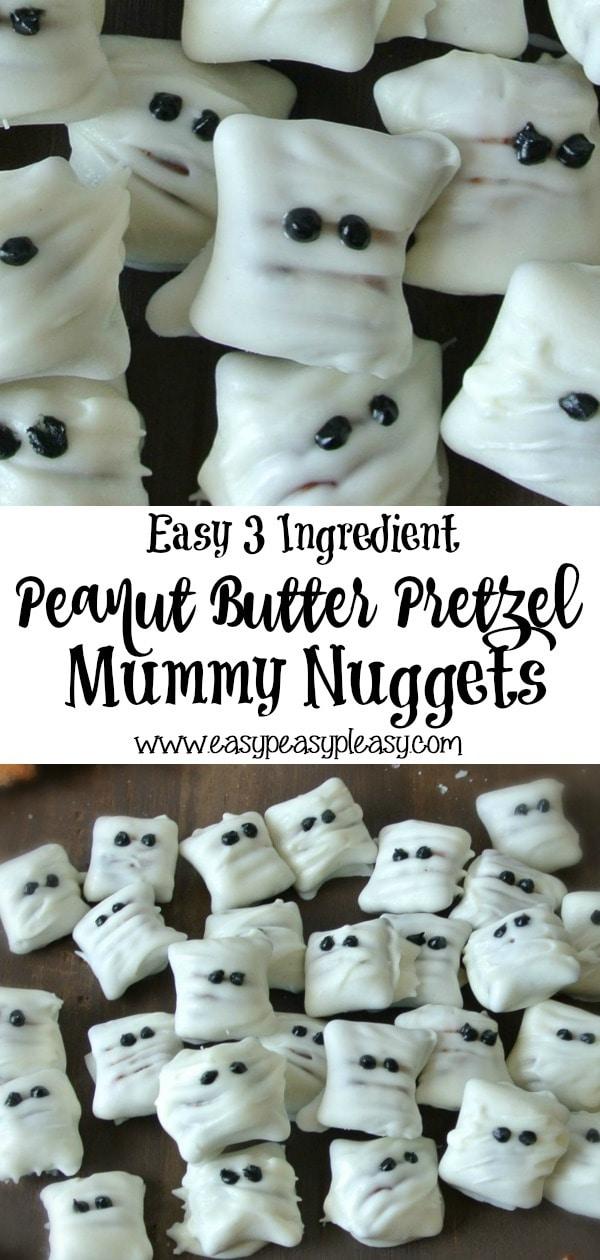 Easy 3 Ingredient Peanut Butter Pretzel Mummy Nuggets. Perfect for halloween. #trickortreat #halloween #3ingredients #halloweentreats #peanutbutterpretzels #almondbark