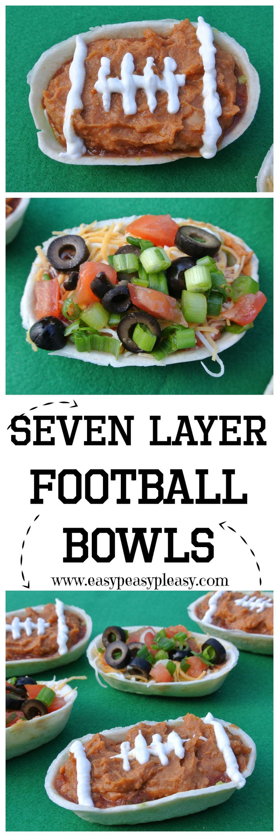 Are you ready for some football seven layer dip bowls These bowls are the perfect appetizer for your next football party!