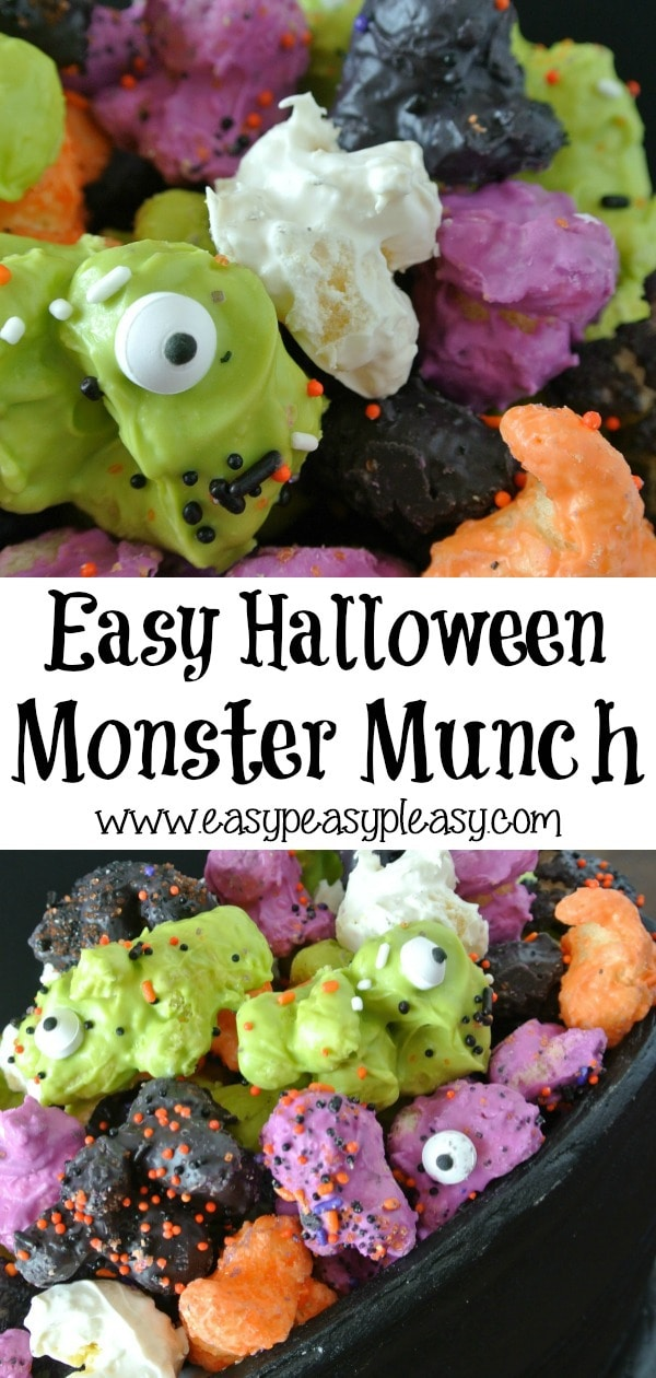 Easy Halloween Monster Munch isn't popcorn but it taste so good. It's the perfect Halloween Treat using only 3 ingredients and comes together super fast. #halloween #monstermunch #halloweentreat