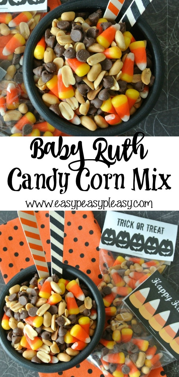 Super Easy Baby Ruth Candy Corn Mix perfect for Halloween using only 3 ingredients. #candycorn #halloween #halloweentreat #3ingredients