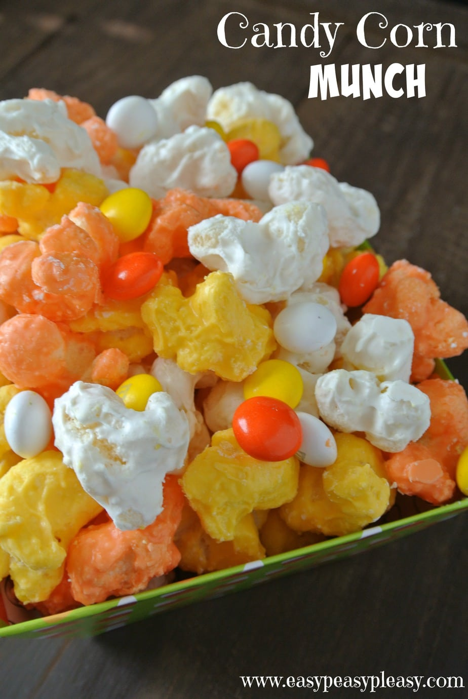 Candy Corn Munch is the perfect Halloween Treat! No popcorn here.