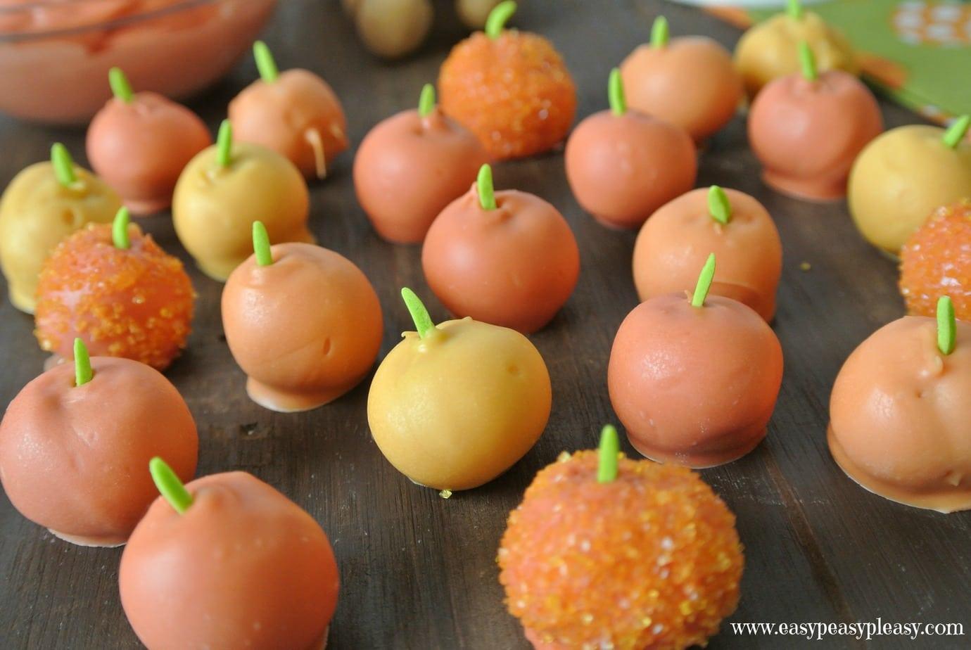 Cute and simple 3 ingredient peanut butter pumpkins.