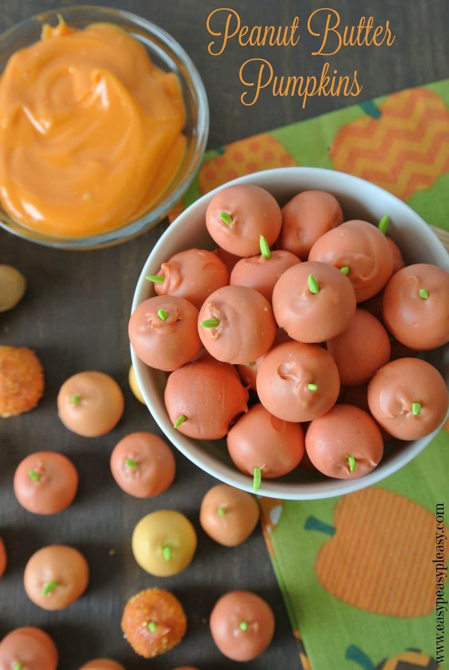 Easy 3 Ingredient Peanut Butter Pumpkins!