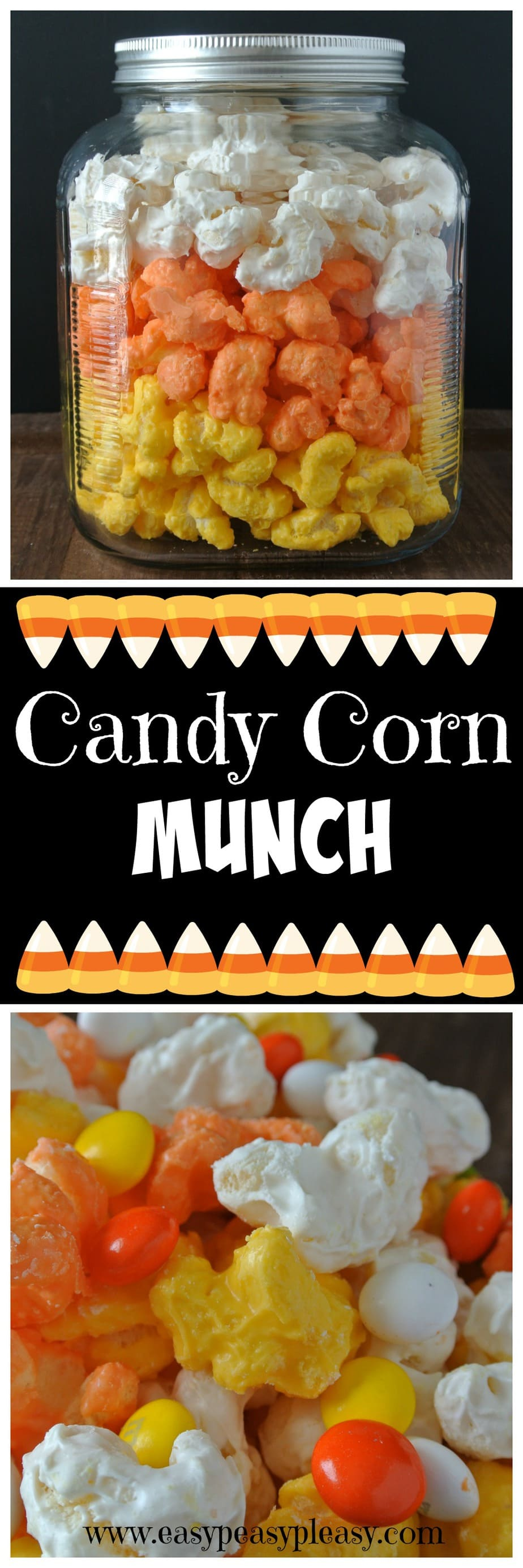 No popcorn here...Easy 3 Ingredient Candy Corn Munch is the perfect treat for Halloween!