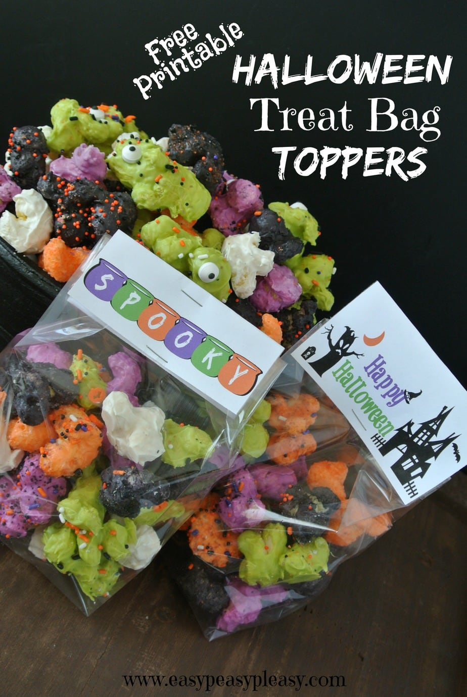 Want to add a little Spooky to your Halloween Treat Bags Print these free treat bag toppers for your Halloween goodie bags.