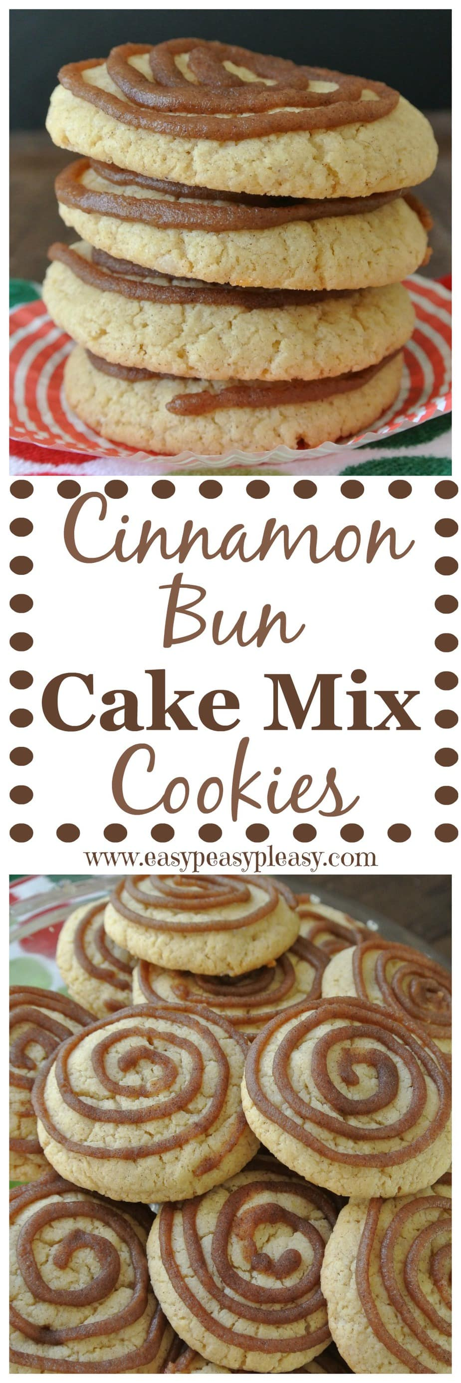 Cinnamon Bun Cake Mix Cookies are easy cookies made from a cake mix when you don't have the ingredients to make from scratch.