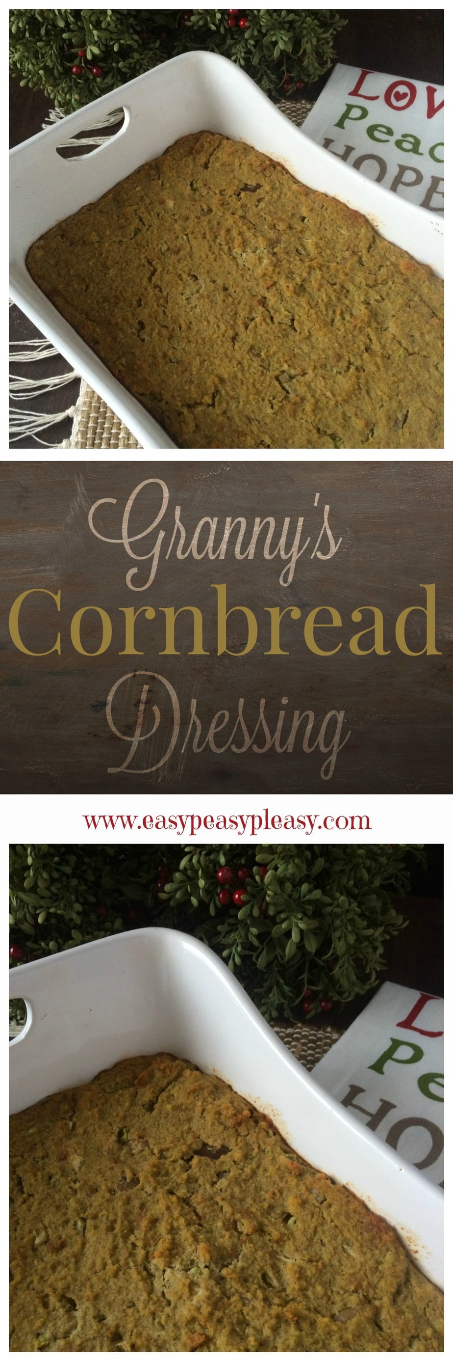 Granny's Southern Cornbread Dressing is easy and a perfect make ahead addition to your Thanksgiving and Christmas Dinner.
