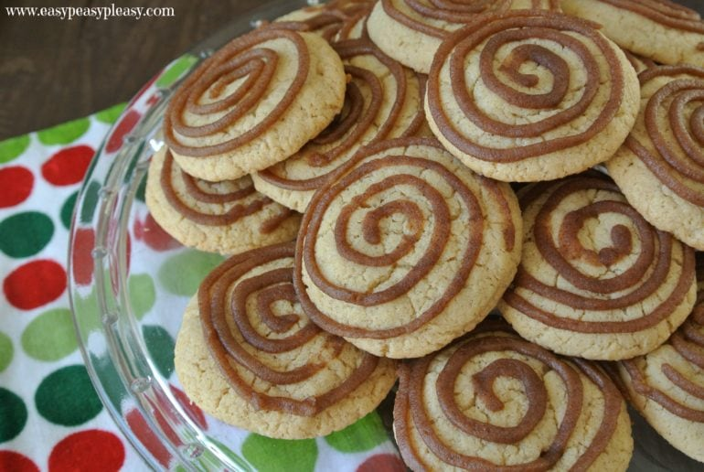 How to make cinnamon roll cookies from a cake mix.