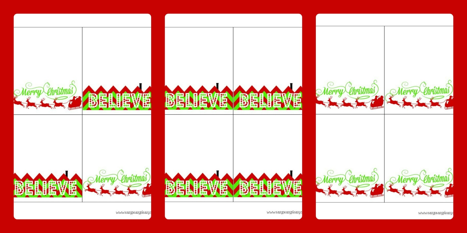 Free printable merry christmas and believe treat bag toppers here