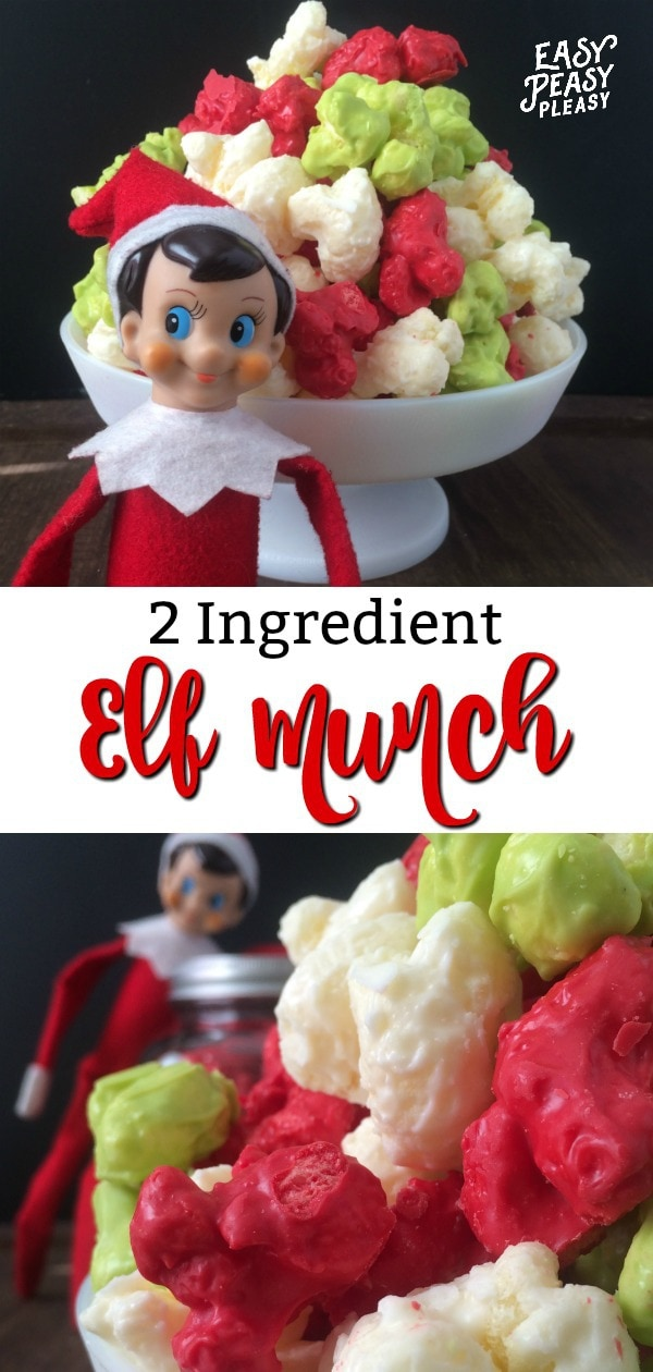 Create this perfect mischievous Elf Munch recipe using only 2 Ingredients. Let your Elf on the Shelf leave the perfect Christmas treat for your little ones. #elfontheshelf #christmastreat #elfmunch