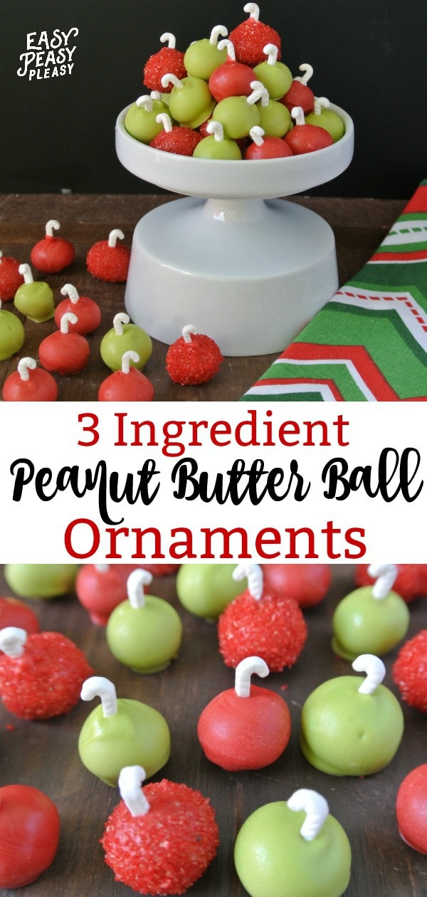 Easy 3 Ingredient Peanut Butter Ornaments make the perfect Christmas Treats. #christmastreats #christmasrecipe #3ingredients
