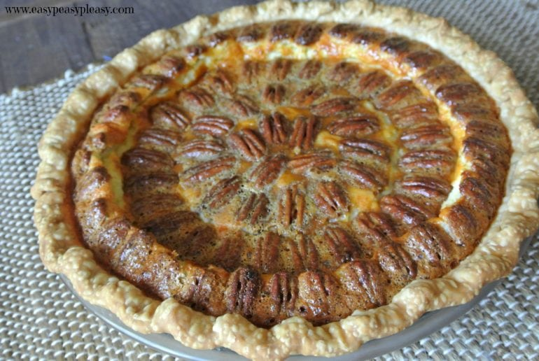 Caramel Pecan Cheesecake Pie is the best of both worlds!