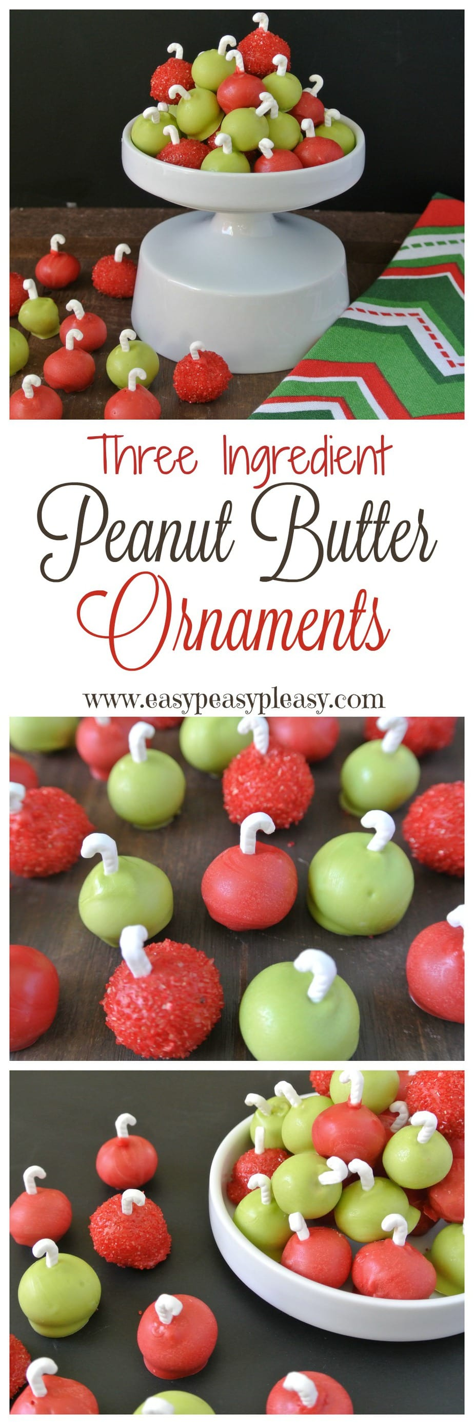 Easy 3 Ingredient Peanut Butter Ornaments are the perfect sweet treat to make for Christmas!