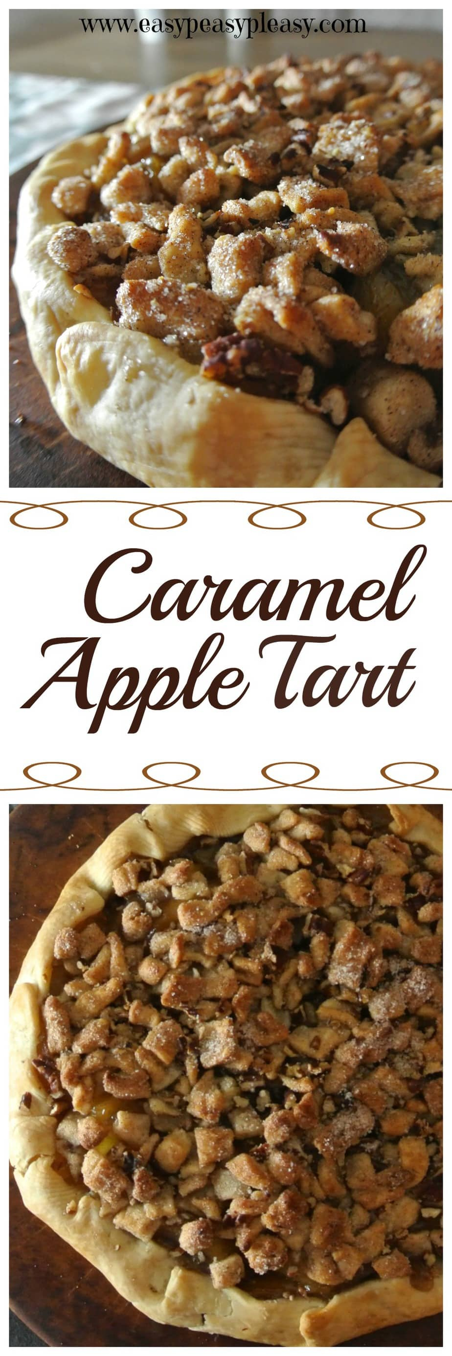 Easy 5 Ingredient Caramel Apple Streusel Tart!