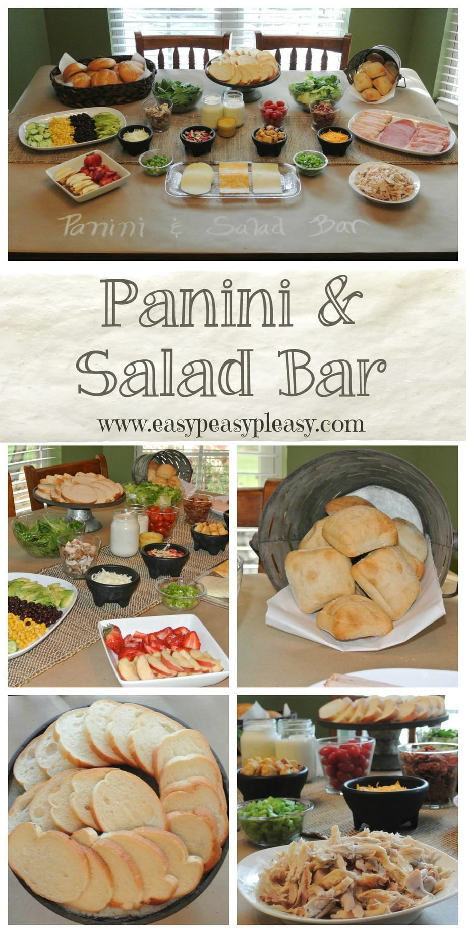 Make up a loaded salad or panini at your next gathering with this easy Panini Salad Bar.