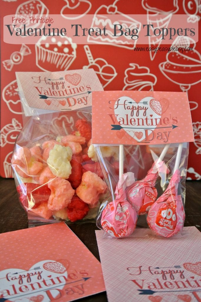 Print these free Valentine Treat Bag Toppers to make your own party favor bags.
