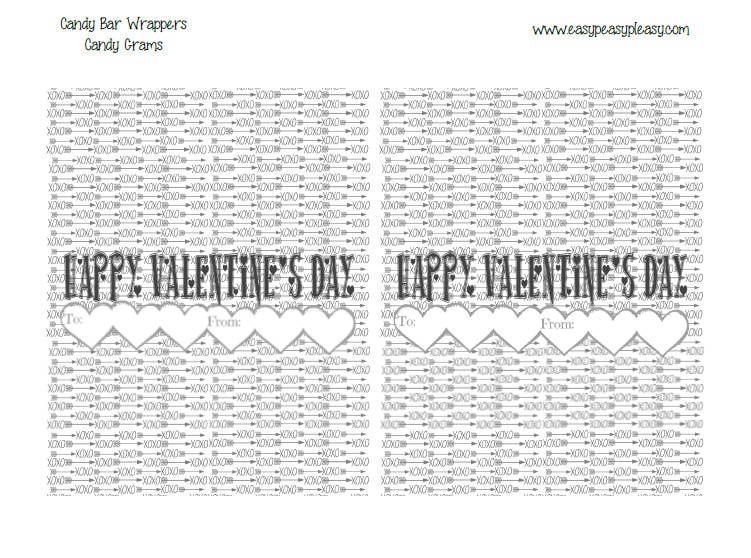 Free Printable Valentine's Day Candy Bar Wrappers. The perfect way to send anyone a candy gram! Save printer ink with this black and white option.