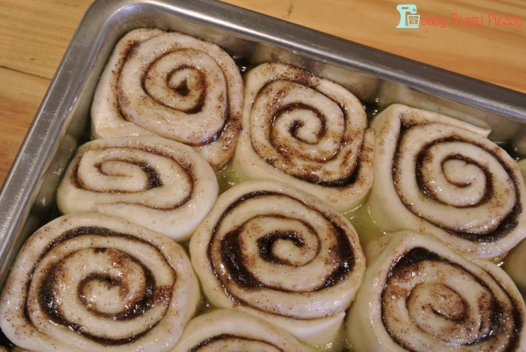 After the cinnamon rolls have risen.
