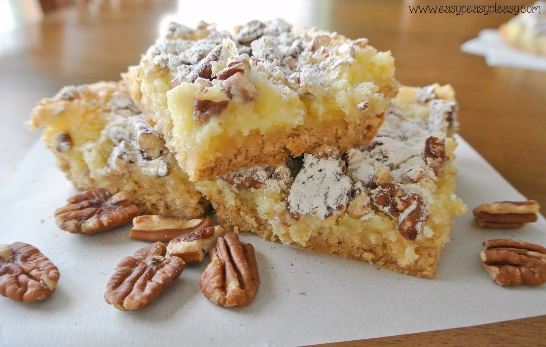 Ooey Gooey Pecan Cheesecake Bars - Easy Peasy Pleasy