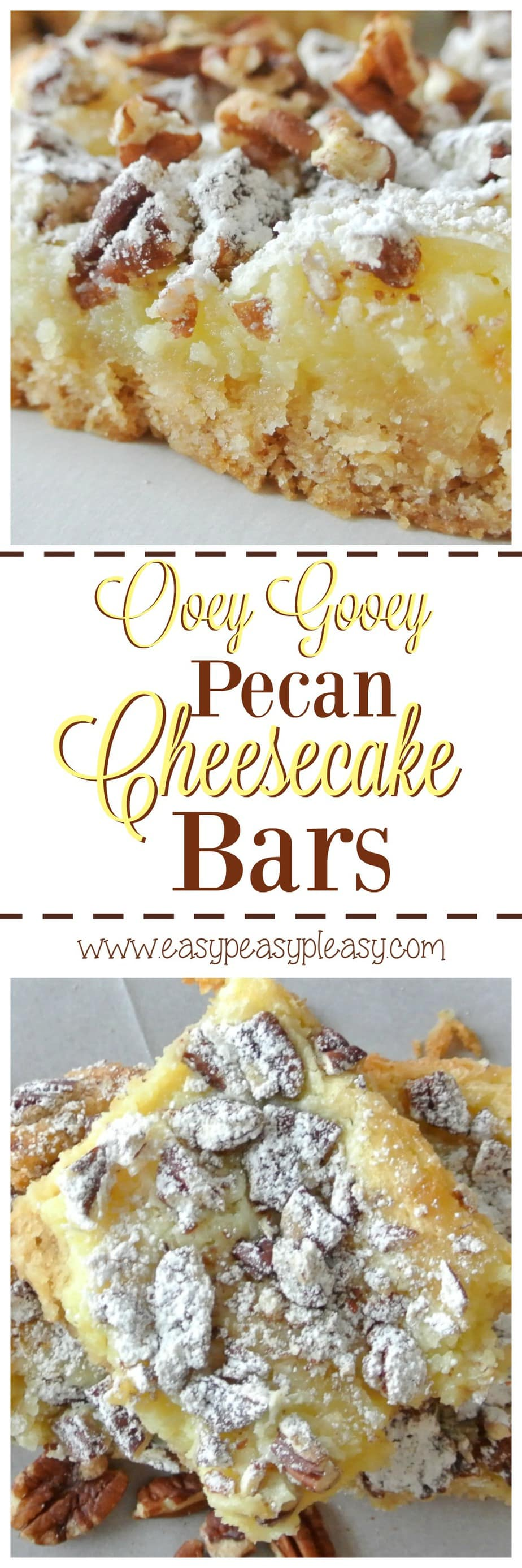 Ooey Gooey Pecan Cheesecake Bars are super easy to make and oh so delicious!