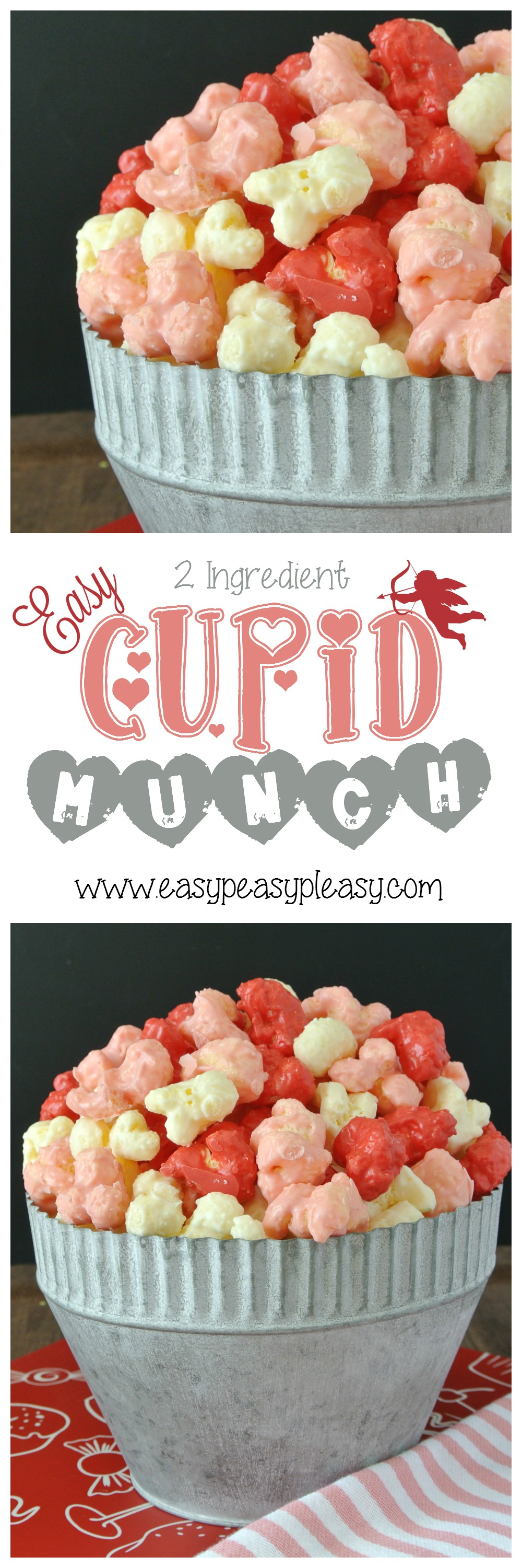 Shh...I have a secret! There's no popcorn in this recipe. Come find out how to make this Easy 2 Ingredient Cupid Munch for Valentine's Day!