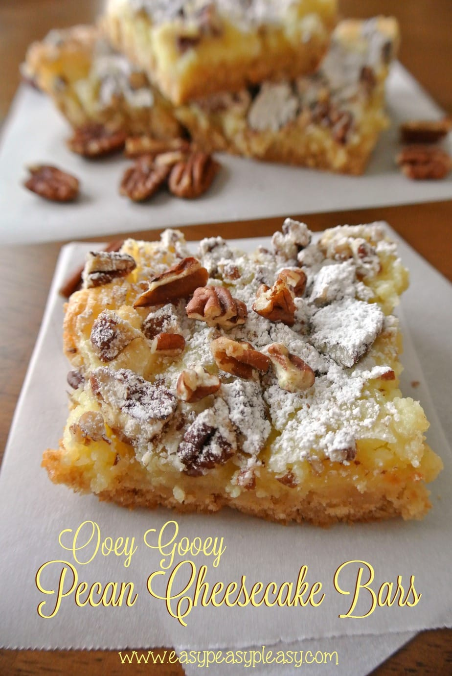 Whip up these easy Ooey Gooey Pecan Cheesecake Bars in minutes!