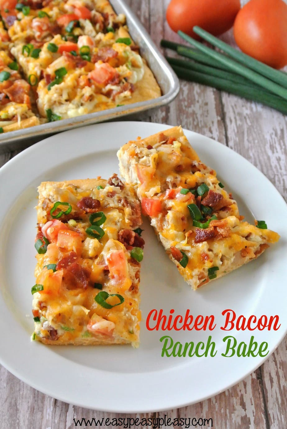 Chicken Bacon Ranch Bake is made easy with the help of a rotisserie chicken and a can of crescent rolls. Perfect for an easy weeknight dinner and great as a party appetizer!